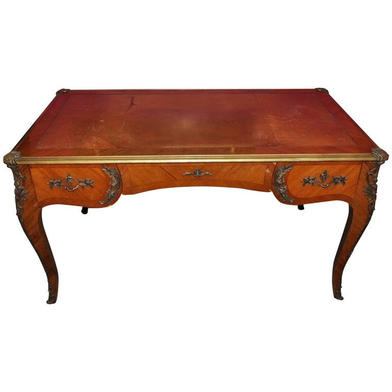 18th Century Writing Desk with Leather Top and Golden Fused Bronzes