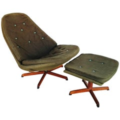 Danish Swivel Lounge Chair MS68 with Ottoman by Madsen & Schübel, 1960s