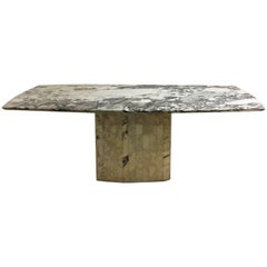 Spectacular Elliptical Table in Purple Marble, 1970, Italy