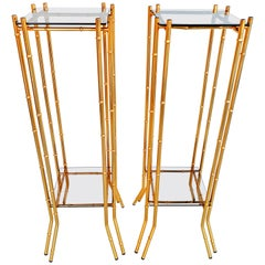 Pair of Faux Bamboo Brass End Tables, circa 1960