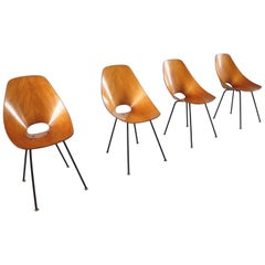 Vittorio Nobili Set of Four Medea Dining Chairs for Tagliabue, Italy, 1955
