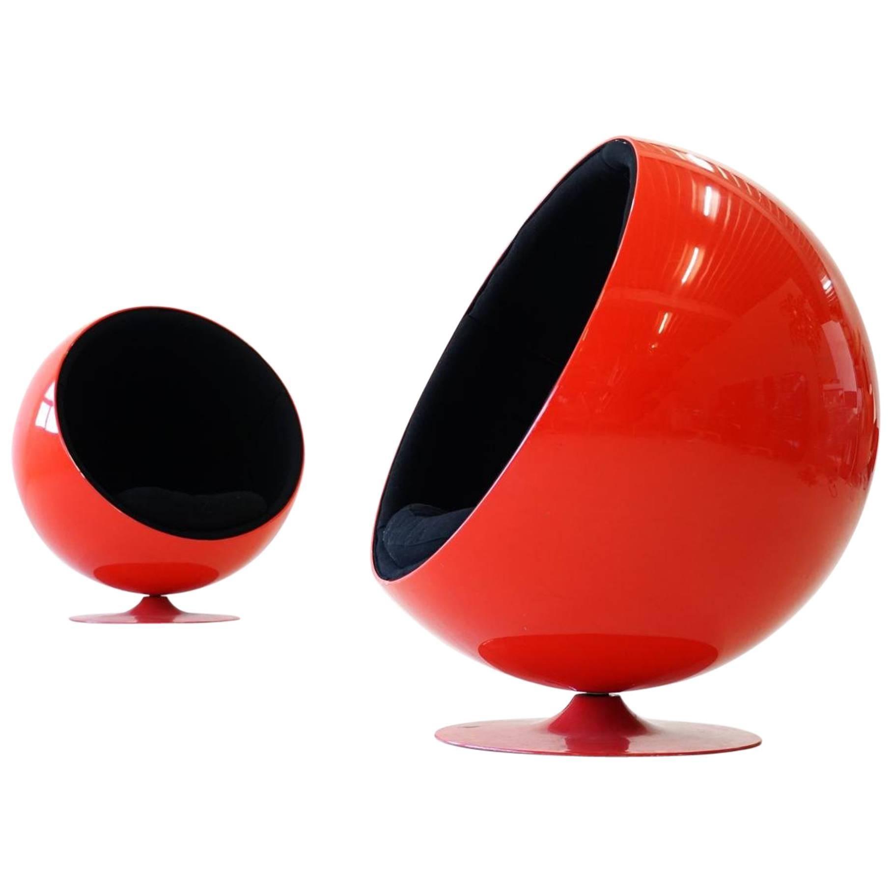 Set Of Two Original Adelta Ball Chair By Eero Aarnio Asko