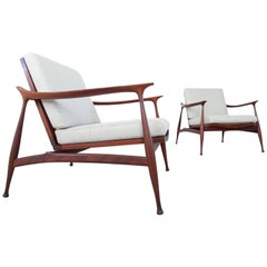 "Ico Parisi Pair of ""Lord"" Lounge Chairs for Fratelli Reguitti, Italy, 1959"
