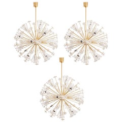 Three Identical Emil Stejnar Blowball Sputnik Brass Chandeliers by Rupert Nikoll