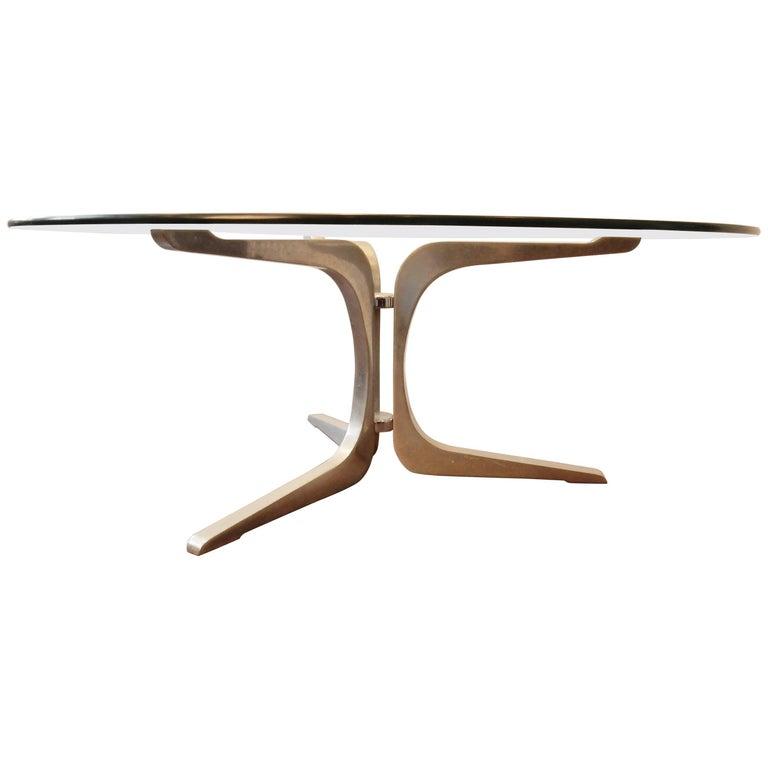 Midcentury Aluminium and Glass Coffee Table, 1960s