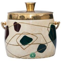 Aldo Tura Cream Goatskin Round Ice Bucket