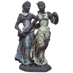 Menuette Ceramic Sculpture by Lore Friedrich Gronau Majolika Karlsruhe, 1950s