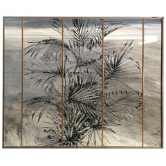 Wall Mirror with Serigraphed Palm Tree, Italy, 1970s