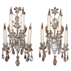 Pair of French Four-Light Rock Crystal Sconces, Maison Baguès, circa 1930