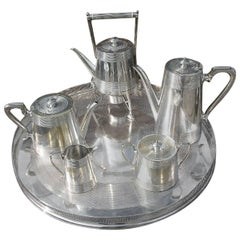 Richard Hunt. A Rare Silver Plated Six Piece Matching Tea and Coffee Service.