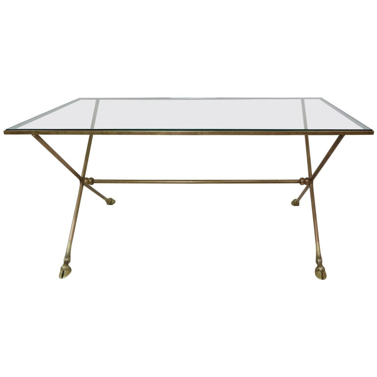 French Maison Baguès Style Bronze Cocktail Table with Glass Top and Brass Feet
