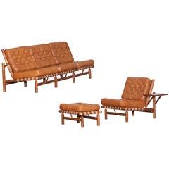 Ilmari Tapiovaara Three-Seat Sofa in Cognac Leather