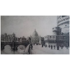 Etching Depicting Castello Sant´Angel in Rome During the Post-War Period, 1950s