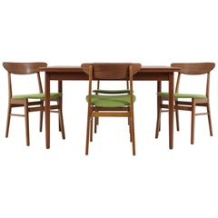 1960 Set of Danish Dining Extendable Table and Chairs