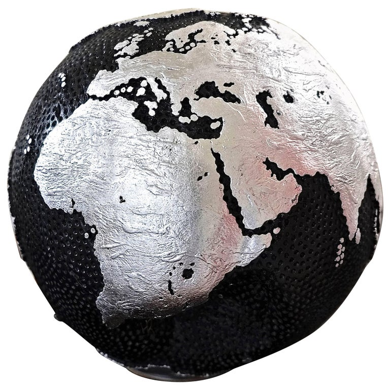 Wooden Globe Graphite and Silver For Sale