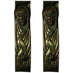 Large Pair of Secessionist Brass Brackets Depicting Art Nouveau Style Maidens