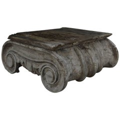 Antique Painted Wood Ionic Column Capital, Greek Revival Style