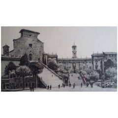 Etching Depicting Chiesa Santa Maria, Rome, During the Post-War Period, 1950s