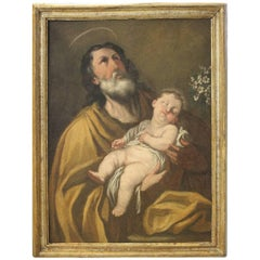 17th Century Oil on Canvas, Old Painting, Saint Joseph with the Child