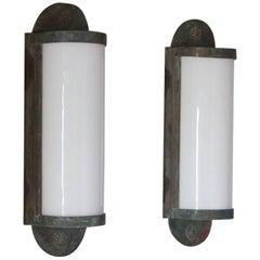 Pair of Large Bronze Wall Lanterns