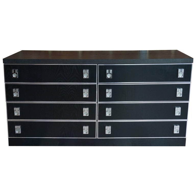 Long Vintage Black Wood Dresser With Eight Drawers For