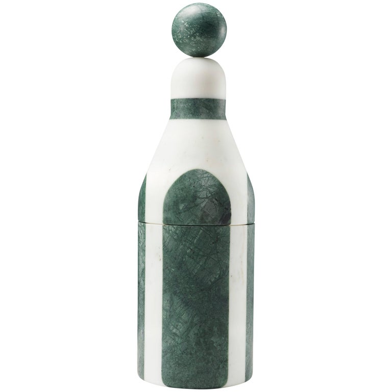 Coolers B, Bottle Cooler in Marble and Brass by Pietro Russo for Editions Milano