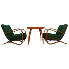 1930 Pair of Jindrich Halabala Art Deco Armchairs and Spider Coffee Table