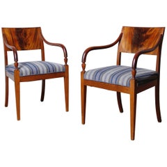 Pair of Danish Empire Mahogany Armchairs