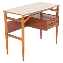 Italian Teak and Brass Desk, Console from the 1950s