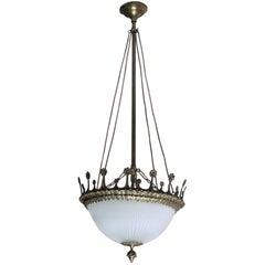 Early 20th Century Spanish Art Deco Bronze Cut Glass Chandelier, Lantern