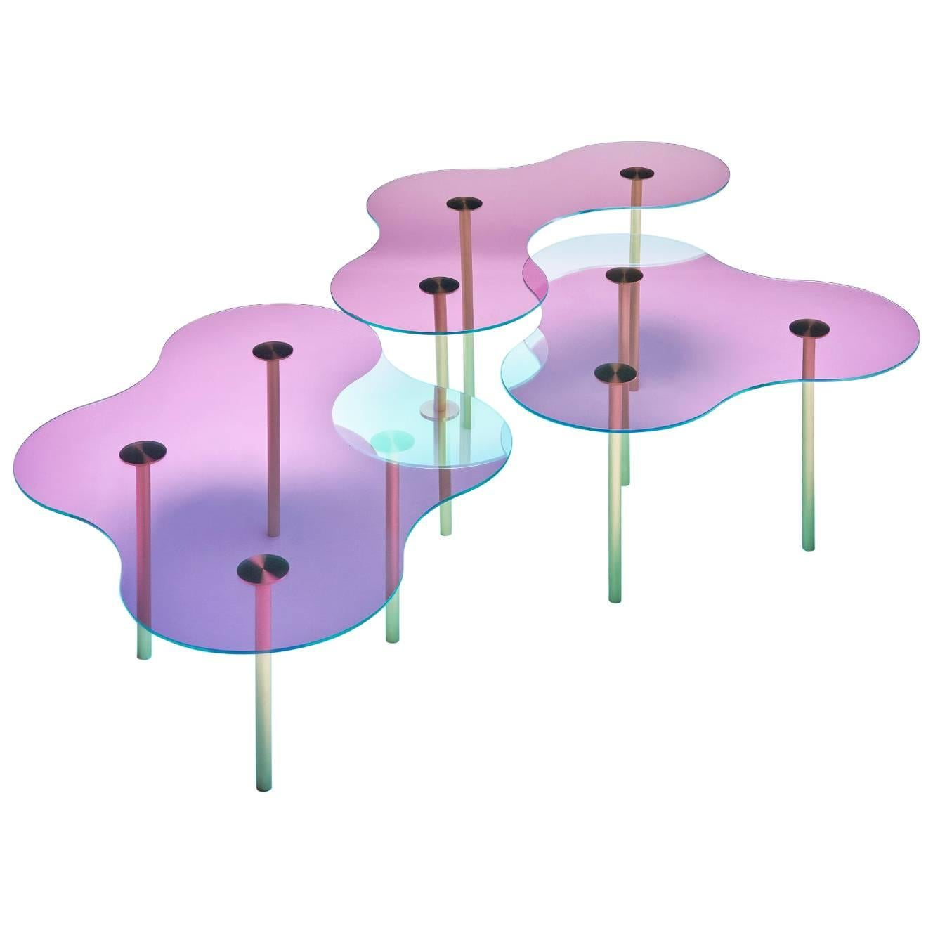 Glass Coffee Table Ensemble of Three by Sebastian Scherer