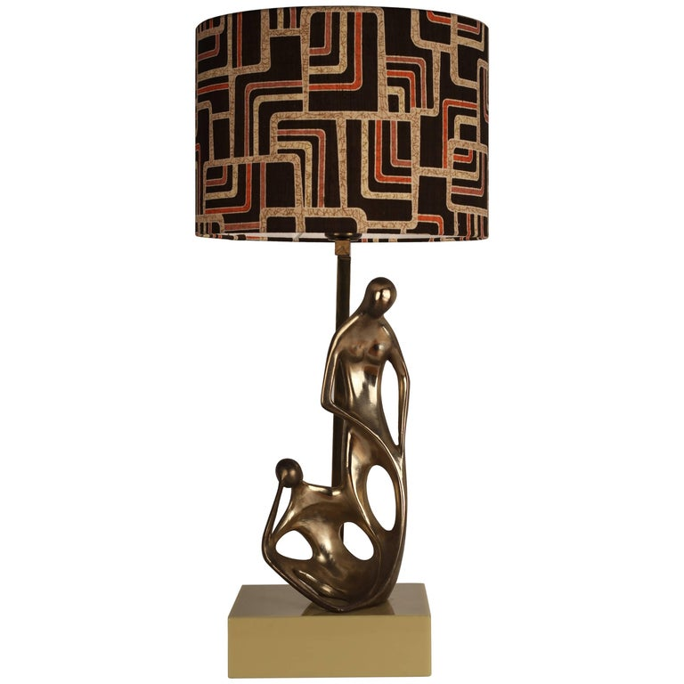 Mid-Century Modern Brass Sculptural Italian Table Lamp, 1950s and Silk Lampshade