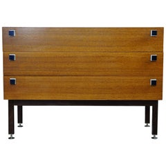 Dutch Design Vintage Teak Dresser with Metal Handles