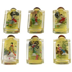 20th Century Chinese Hand-Painted on Crystal Snuff Bottles
