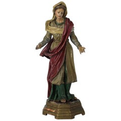 18th Century Old Wooden Saint Statue on a Gilded Base