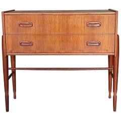 Elegant Small Danish Teak Chest of Drawers or Cabinet, Denmark, 1950s-1960s