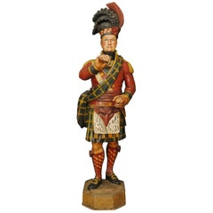 Superb Carved Wooden and Polychromed Tobacconists Figure of a Highlander