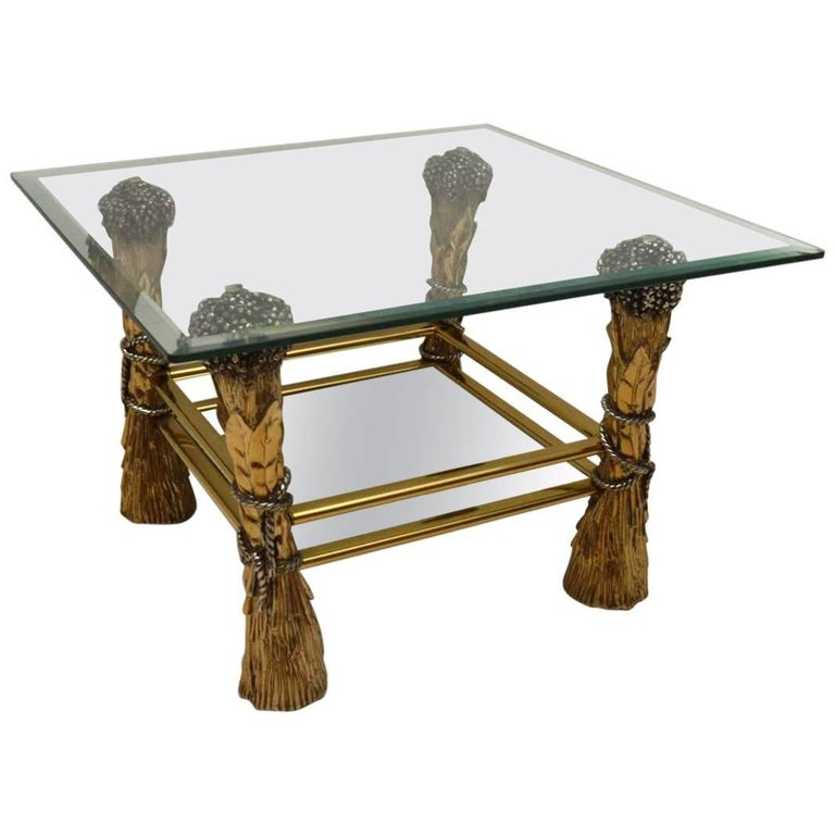 1960s Vintage Brass And Glass Decorative Coffee Table For