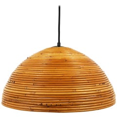 French Mid-Century Bamboo Hemispherical Pendant Light from the 1960s