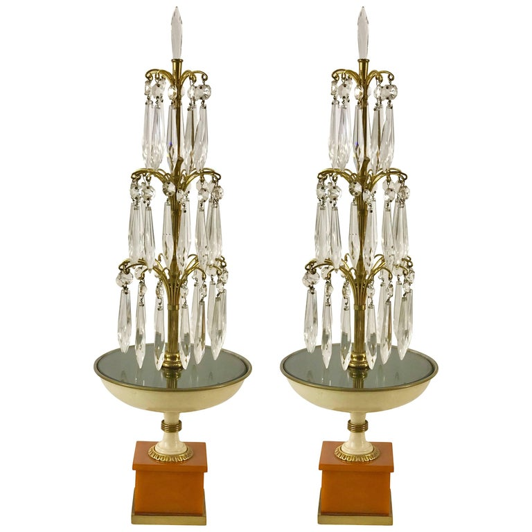 Pair of Art Deco Fountain Lamps, Provenance Edmonde Charles-Roux
