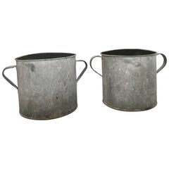 Pair of Vintage Galvanized Planters, Architectural, Garden
