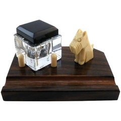 French Art Deco Macassar and Bakelite Fox Terrier Inkwell, 1930
