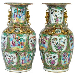 Pair of Lovely Chinese 19th Century Rose Medallion Vases with Gilt Lizards