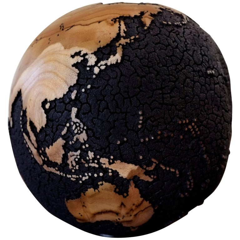 Oceans Cracked Wooden Globe 1