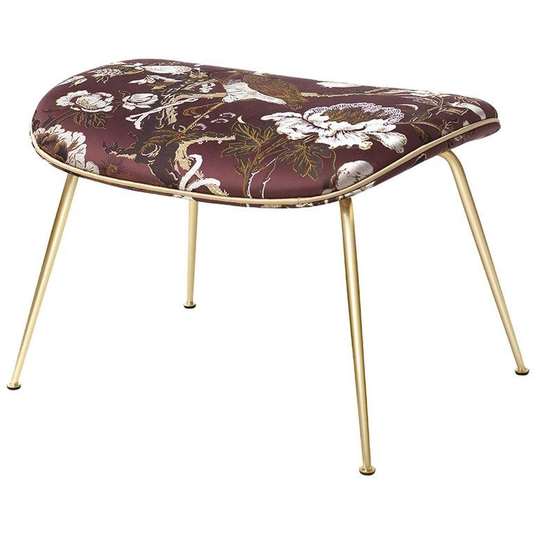Gamfratesi Beetle Ottoman with Various Upholstery Options and Brass Base