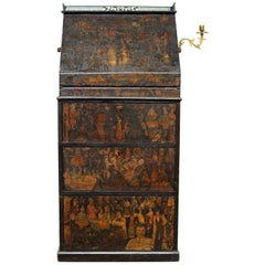 Late 19th Century Irish Decoupage Bureau Desk