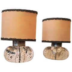 Pair of Barovier and Toso Murano Glass and Brass Italian Table Lamps, 1940