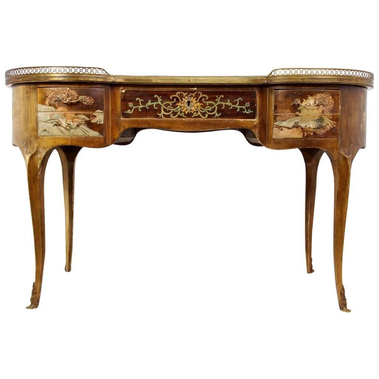 Antique French Chinoiserie Kidney Writing Desk, circa 1860