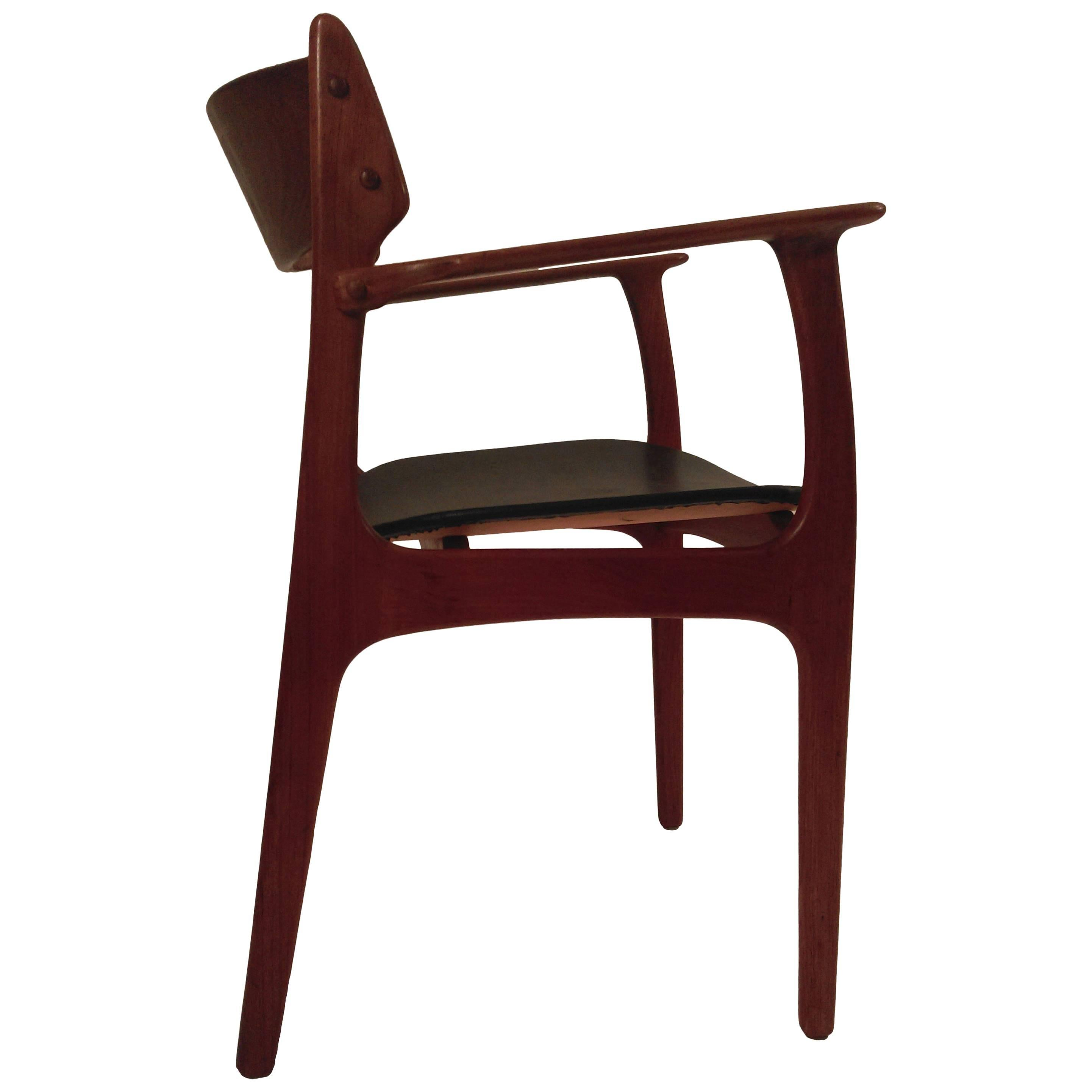 1950s Erik Buch Refinished Model 50 Armchair in Teak Inc. Reupholstery