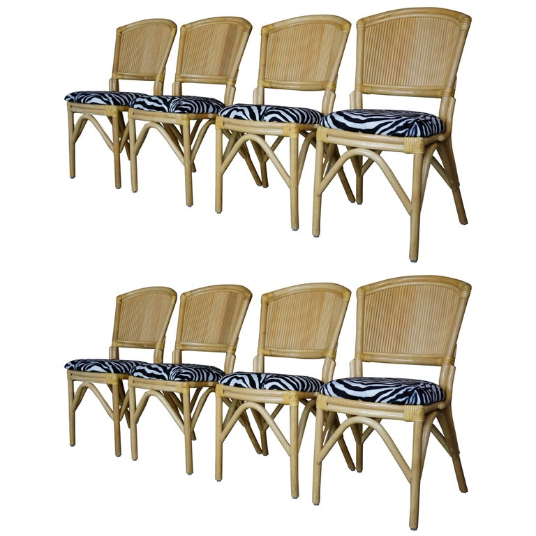 Set Of Eight Rattan And Leather Chairs With Velvet Zebra